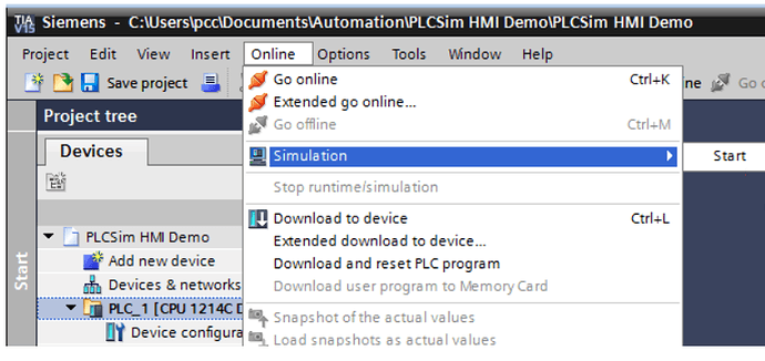 Simulate with S7-PLCSIM and HMI Simulator