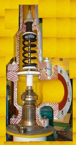 A cutaway model of a Pressure Relief Valve (PSV)